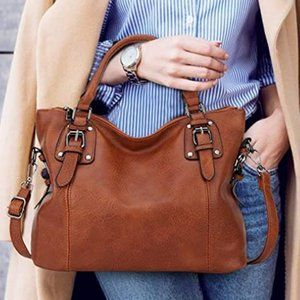 NEW URY Faux Leather Ladies Tote, Brown